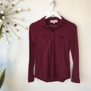 Ann Taylor Petites button up long sleeve top XXSP